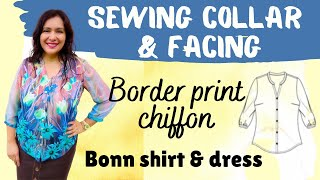 Bonn Shirt (Itch to Stitch).  Pattern review.  Border print + hand basting :)