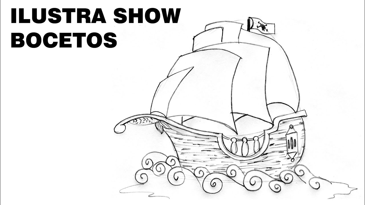 C mo dibujar un barco carabela tutorial ilustra show youtube for Imagenes de un estanque para colorear