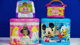 Disney Princess Mickey Mouse Coin Bank Barbie Sweet Orchard Farm Kinder Joy Egg Shimmer & Shine