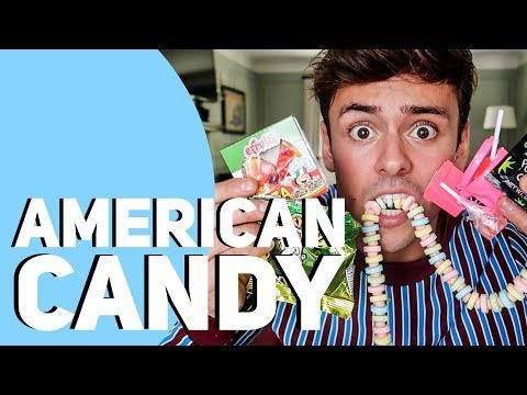TRYING WEIRD AMERICAN CANDY! *GROSS* I Tom Daley