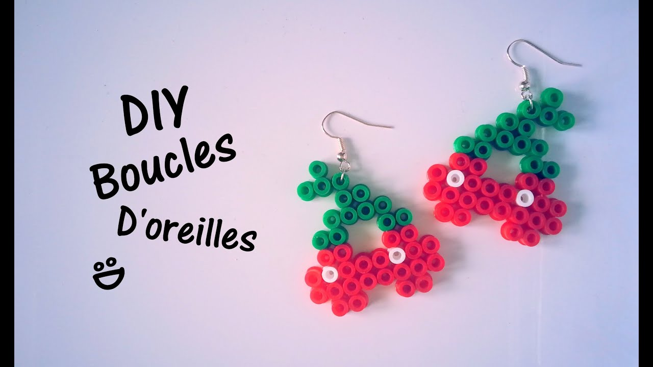diy cr ation boucles d 39 oreilles cerises perles hama youtube. Black Bedroom Furniture Sets. Home Design Ideas