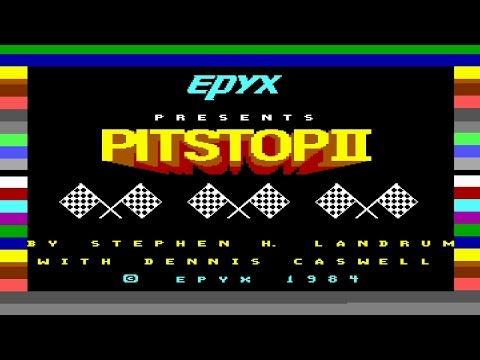 Pitstop II (C64) Loading & Gameplay, 1984, Epyx (Tape Version)