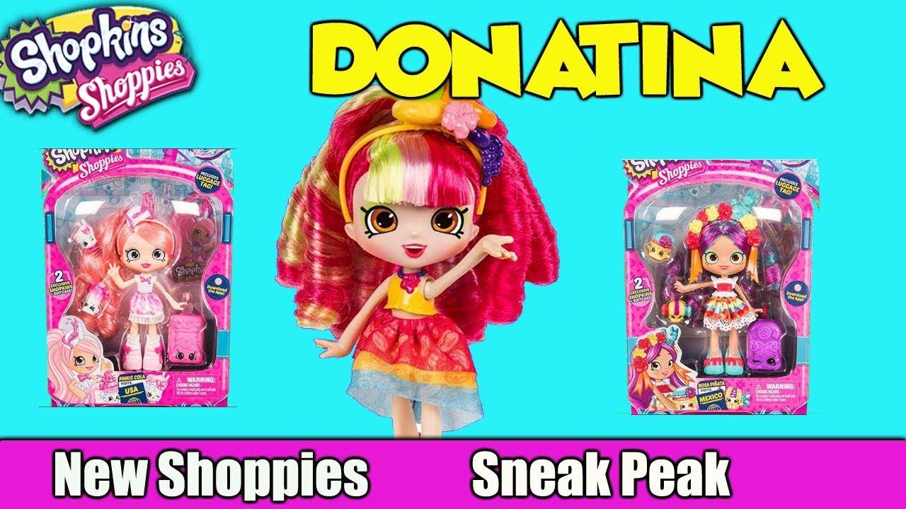 NEW Shopkins Season 8 Shoppie Dolls Donatina Pinkie Cola And Rosa Pinata Sneak Peak Preview