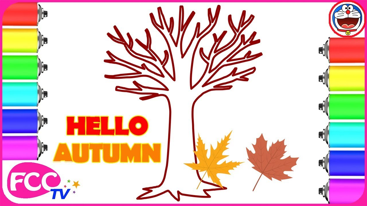 coloring maple leaf how to draw tree autumn drawing pages to