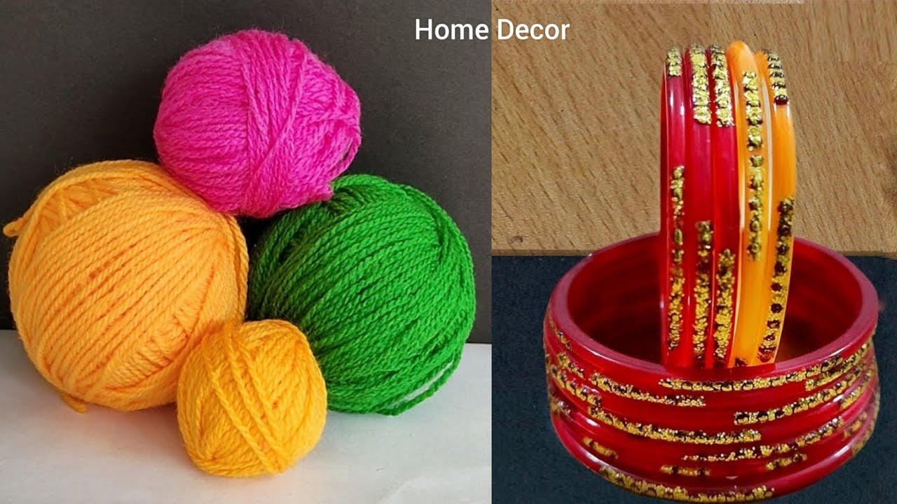 3 Superb Home Decor Ideas using Waste Old Bangle and Wool - Best out of waste - Waste material craft