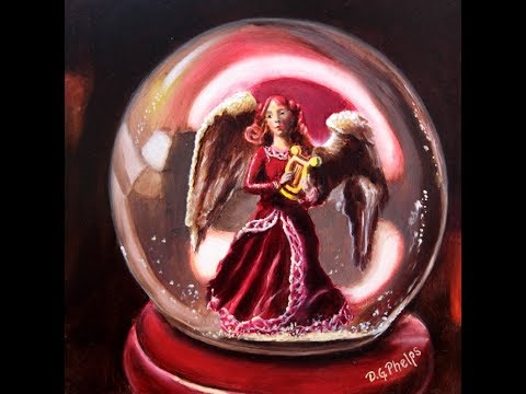 Christmas theme small oil painting snow globe angel