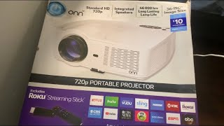 ONN 720p Portable Projector With Roku Stick From Walmart Review////Good Investment!