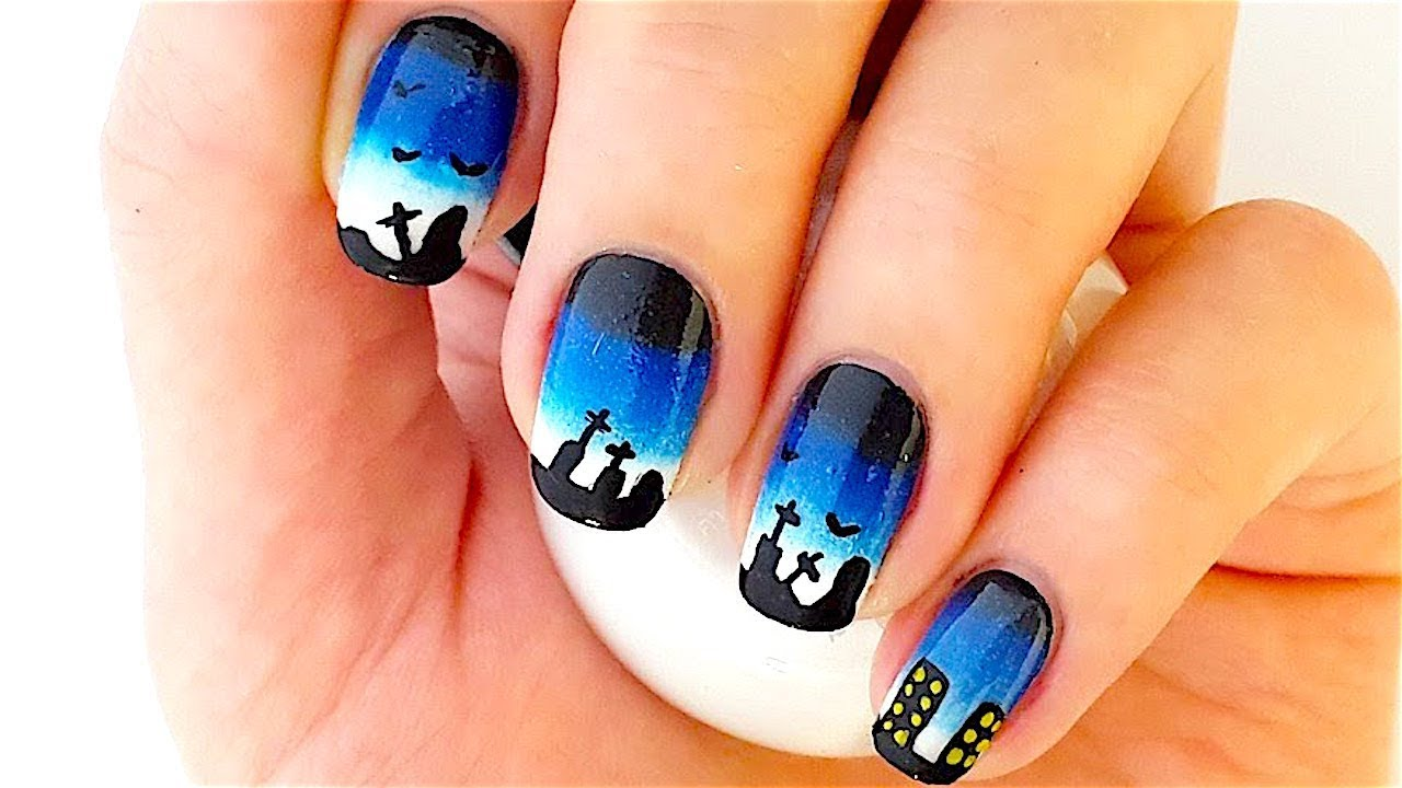 Halloween Ombre Nail Art (Black, Blue and White Nail ...