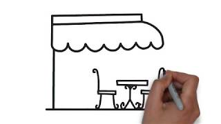 "How to draw a home cafe | ""very easy"" step by step draw for kids"