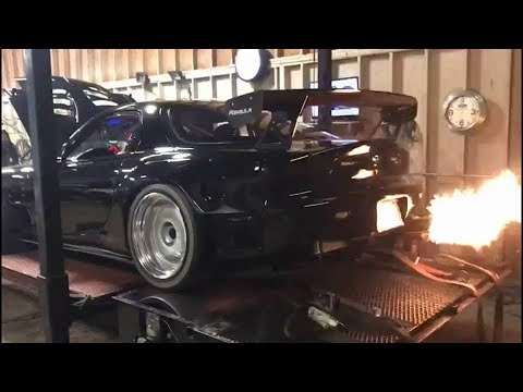 4 Rotor Turbo RX7 Screaming on the Dyno!