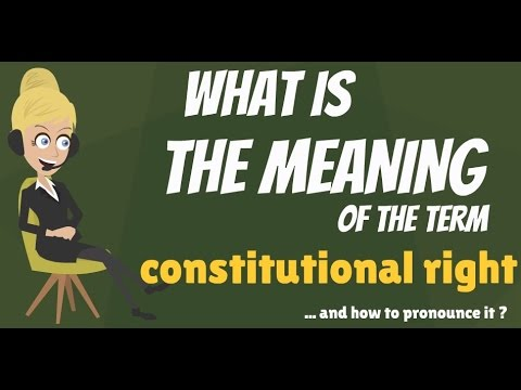 What is CONSTITUTIONAL RIGHT? What does CONSTITUTIONAL RIGHT mean? CONSTITUTIONAL RIGHT explanation