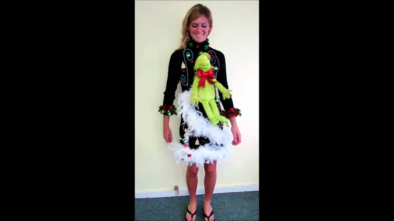 light up foofoo grinch tacky ugly christmas sweater dress for sale - Christmas Sweater Dress