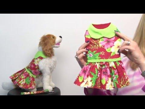 Red Hawaiian Hibiscus Designer Dog Harness Dress