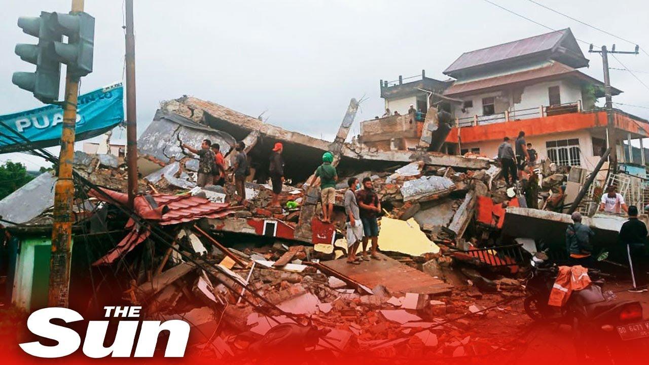 Indonesia earthquake rescuers search building rubble for survivors