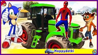 Человек паук катается на цветном тракторе, учимся считать, мультики для детей