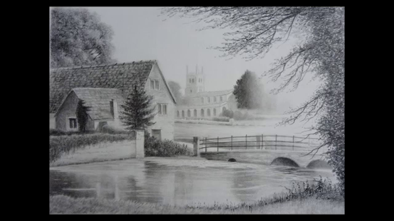 It is a photo of Selective Landscape Drawing In Pencil
