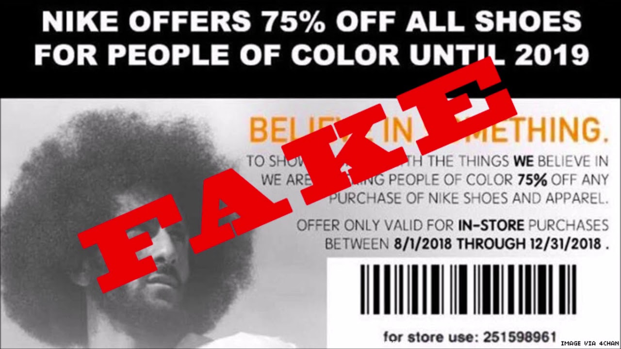 Nike Warns Customers About Fake Coupon For 'People Of Color'