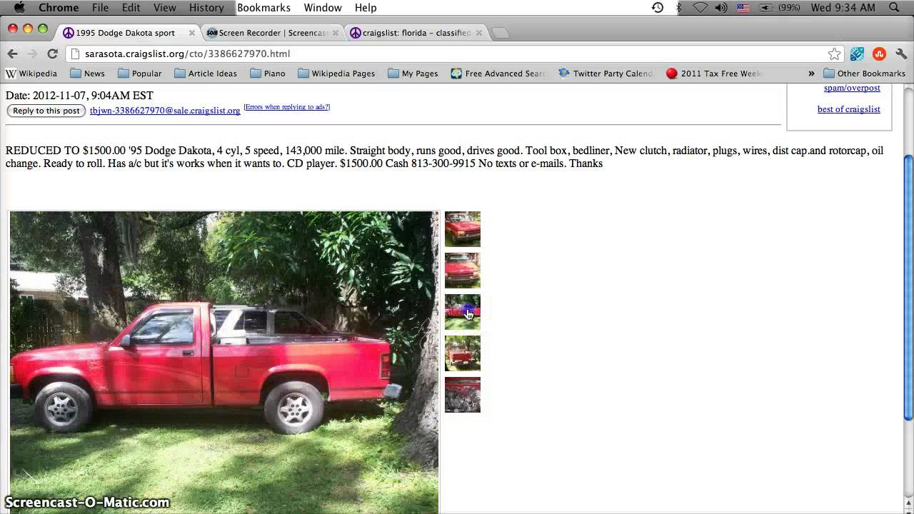 Craigslist bradenton florida cars trucks and vans cheap for sale by owner classifieds today youtube