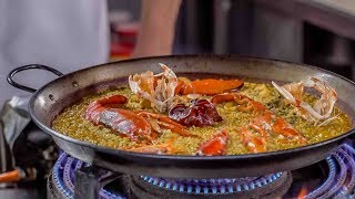 Lobster paella, dried seafood rice