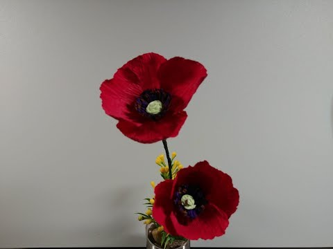 How to make a beautiful and handmade poppy with crepe paper