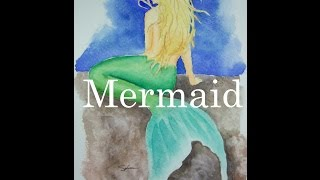 How to Paint a Mermaid in Watercolour Watercolor Woman kneeling Fin Tail Tutorial