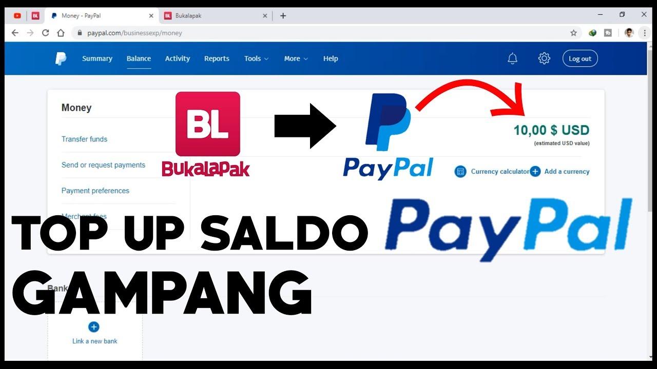 Cara Mengisi Saldo Paypal Top Up Paypal Youtube