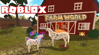ROBLOX FARM WORLD Horse Family Roleplay with Little Sister - New Cat, Guinea Pig + Game Glitch