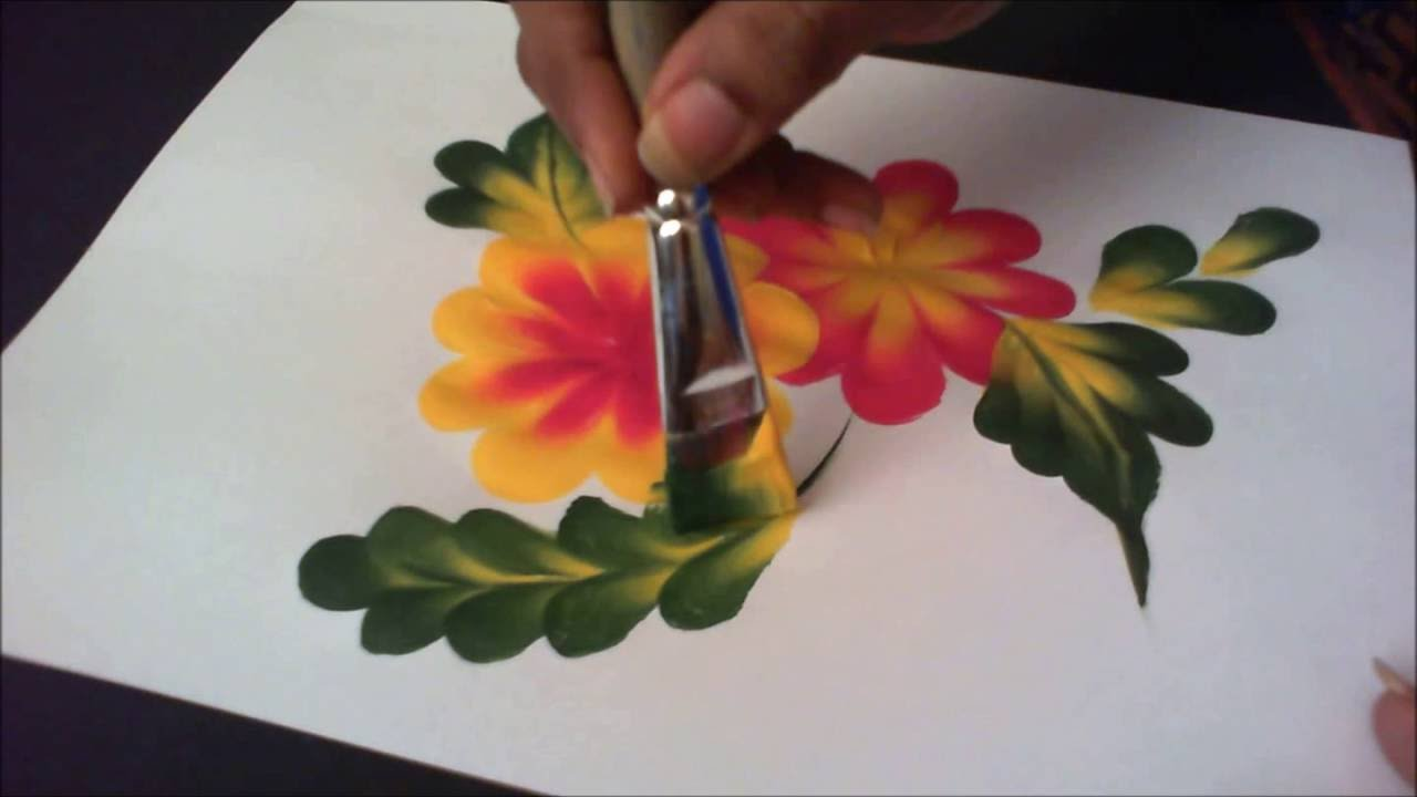 How To Paint Simple Tear Drop Flower And Leaf Composition Step By