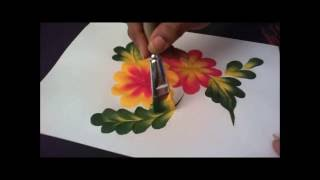 How to paint Simple tear drop flower and leaf composition step by step