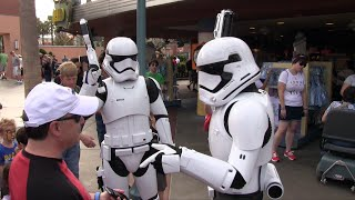 First Order Stormtroopers from Force Awakens patrol outside Star Wars Launch Bay