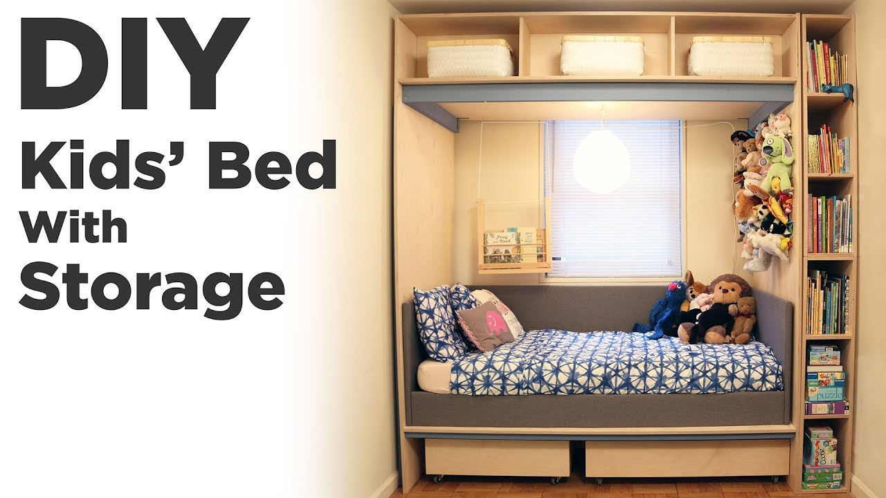 Diy Kids Bed With Storage Kids Room Organization And Renovation