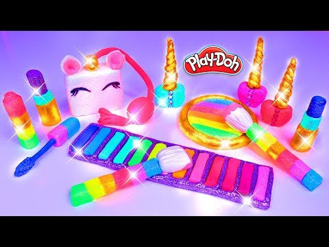 Play Doh Unicorn Makeup Set How to Make Eyeshadow Lipstick 💄 Nail Polish 💅 with Play Doh for Kids