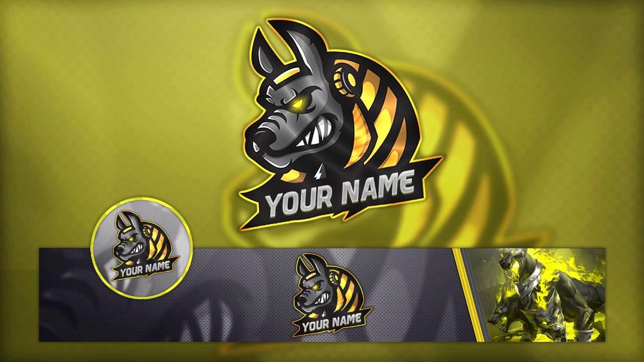 free gam u0131ng logo    banner and avatar template psd