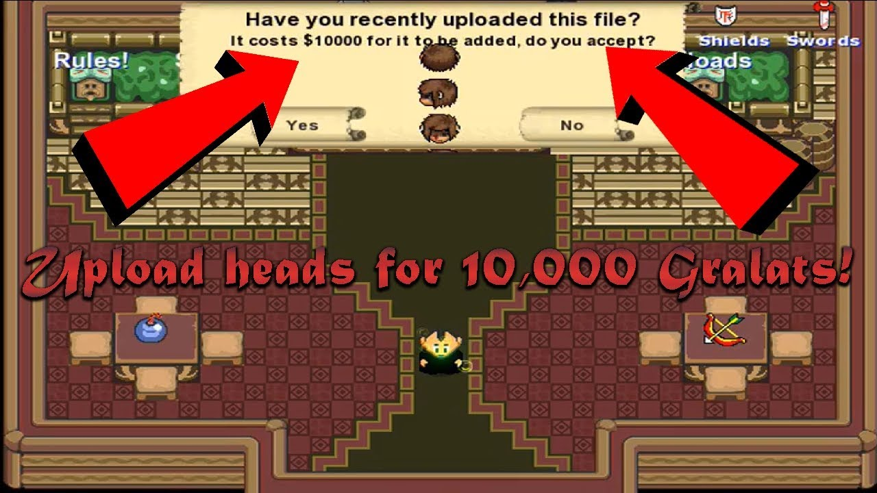 GraalOnline Classic: How to Upload a Head for 10,000 Gralats!