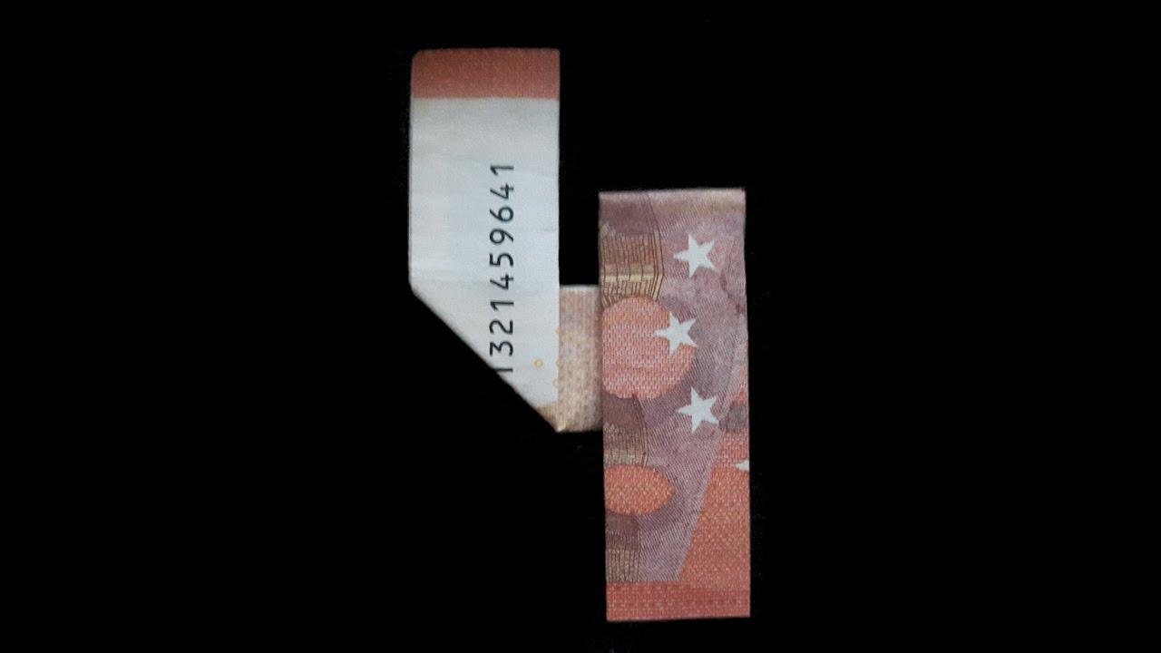 Geldgeschenk Zahl 4 Aus Einem Geldschein Falten 4 Aus Geld Falten