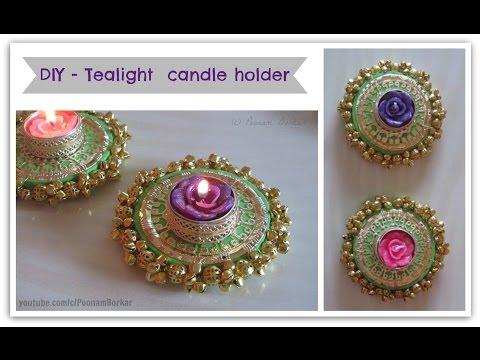 DIY - Tealight Candle holder | Beautiful golden diya tealight candle holder for diwali decoration