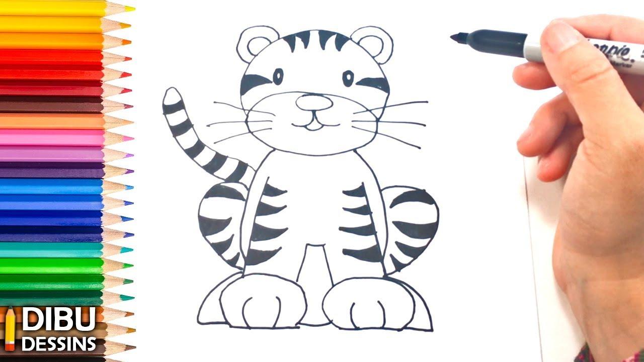 Comment dessiner un tigre dessin de tigre youtube - Comment dessiner un tigre ...