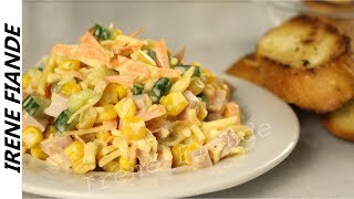 Салат с кукурузой и огурцом Быстрый и простой рецепт