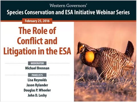 Chairman's Initiative Webinar: The Role of Conflict and Litigation in the ESA