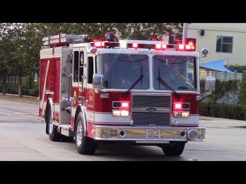 Santa Monica Fire Dept. RA3, Engine 3, & Engine 4 Responding