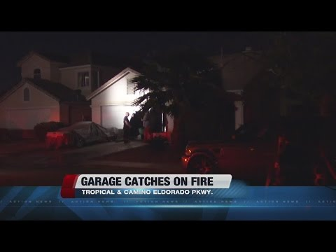 Garage catches on fire in North Las Vegas