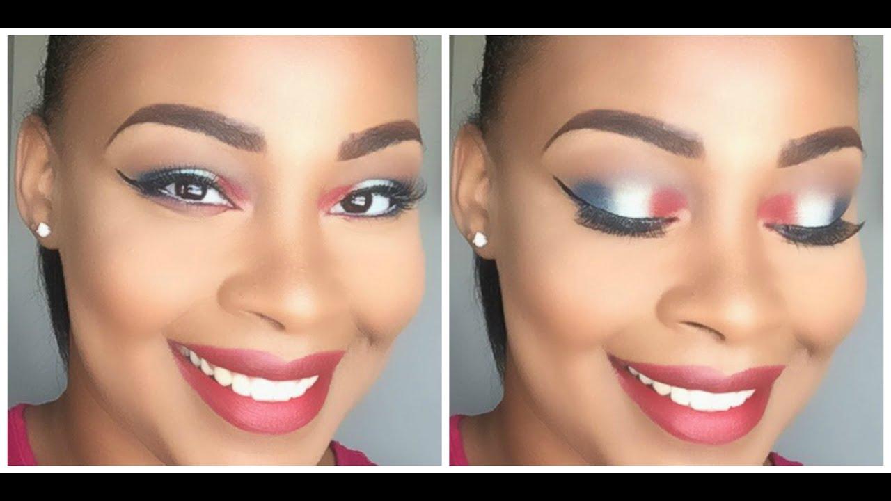 4th Of July Patriotic Full Face Makeup Tutorial 2017 You