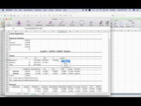 how to run a regression in excel mac