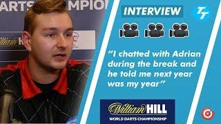 Dimitri Van den Bergh on 'Chat' with Adrian Lewis during break |