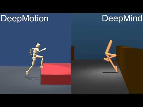 Physics Simulated Parkour AI: DeepMotion vs DeepMind (w. ref motion)