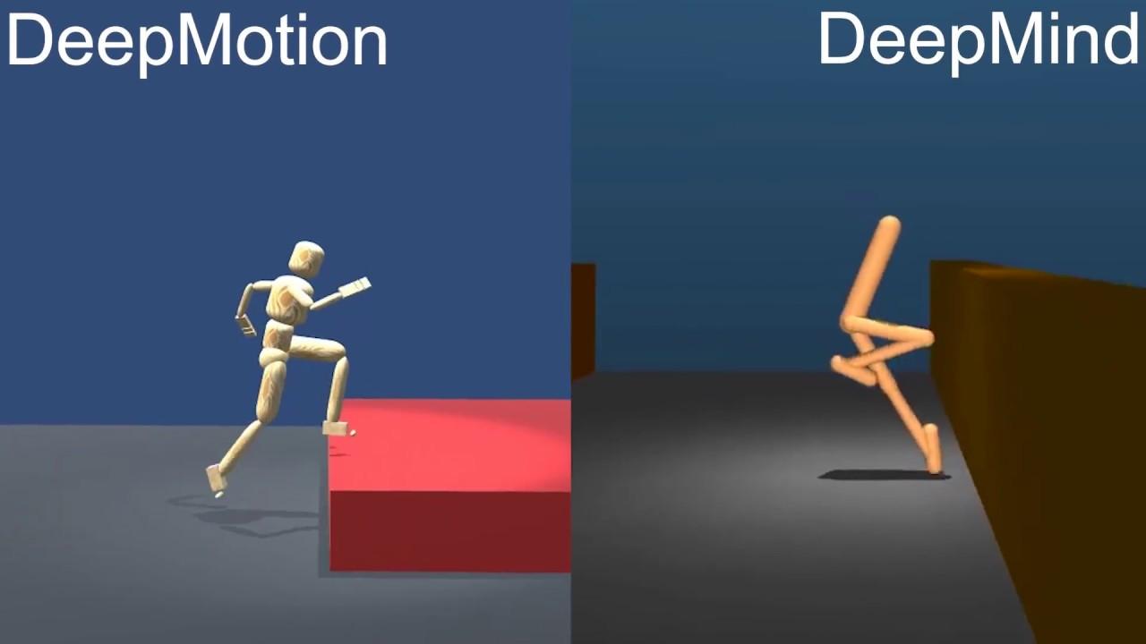 Physics Simulated Parkour AI: DeepMotion vs DeepMind (w  ref motion)
