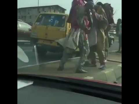 Two  Masquerades Exchange Blows In Lagos (Watch Video)
