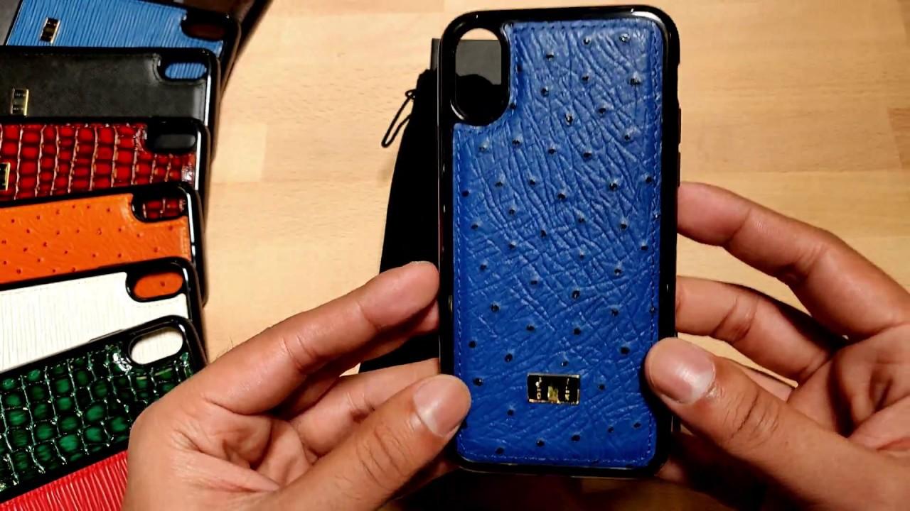 new styles 16fe8 53694 Buy Gold Black iPhone X Leather Case Ostrich Royal Blue in Qatar -  AlaneesQatar.Qa