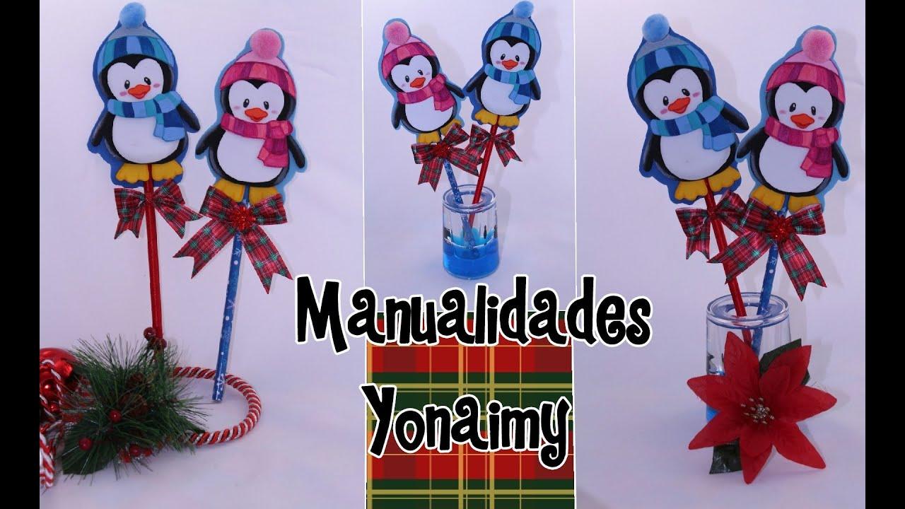 Pinguinito navide o para decorar lapices y plumas o como - Adornos para lapices en goma eva ...