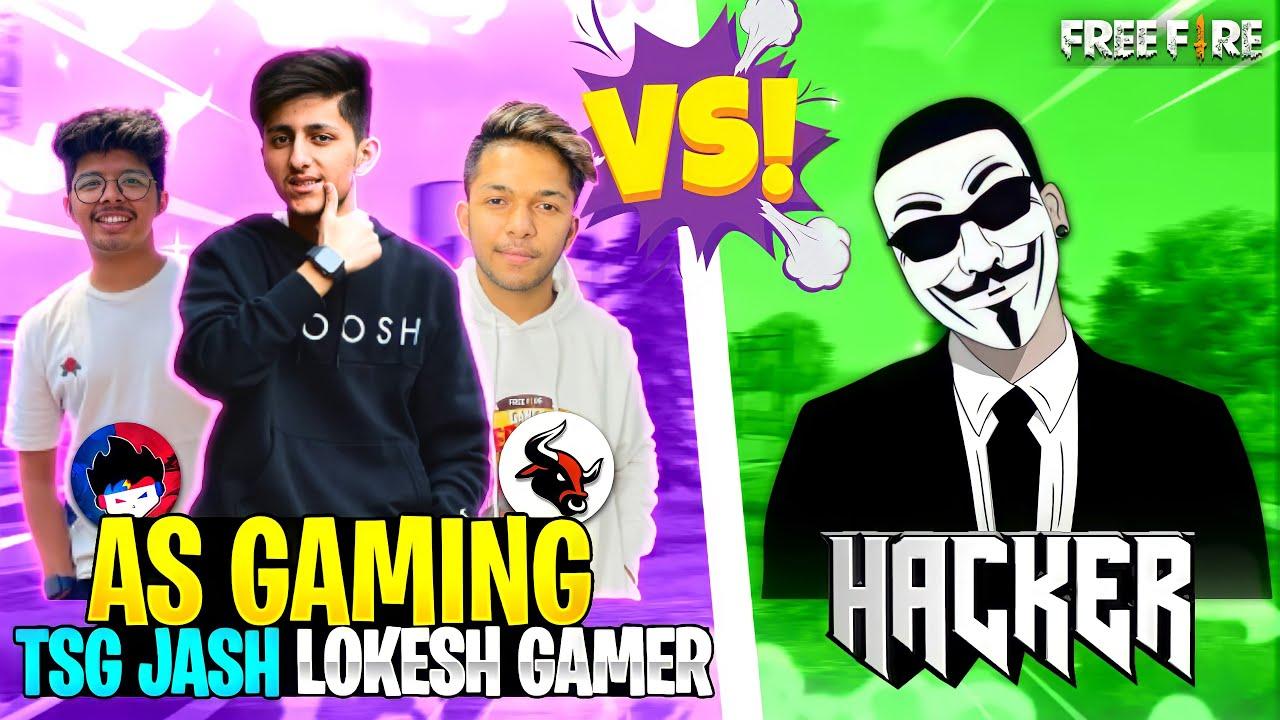 3 Youtubers Vs Hacker? Free Fire Best Hacker Gameplay | Lokesh Gamer Op Reaction - Garena Free Fire